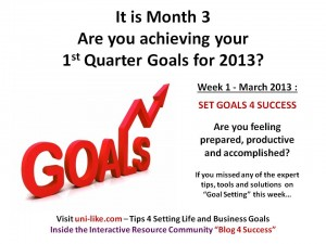 Month 3 2013 Week 1 Goal Setting 4 Success